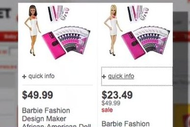Black and white Barbies priced differently at Target, Walmart