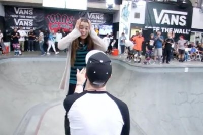 Skateboarder pulls off rad marriage proposal