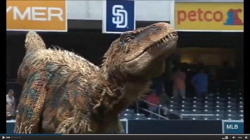 Dinosaur throws out first pitch at Padres-Royals game