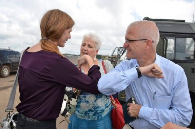 Samantha Power shows 'Ebola handshake' on Liberia trip