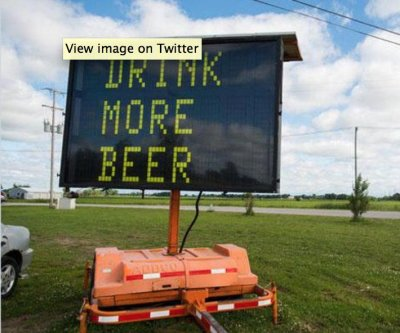 'Drink more beer' road sign sells for hundreds