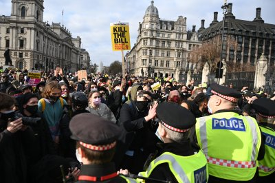 Demonstrators rally in Britain against anti-protest bill