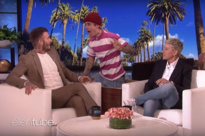 David Beckham discusses kids, gets scare from Justin Bieber on 'Ellen'