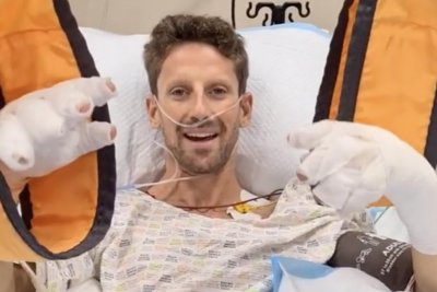 Formula 1's Romain Grosjean 'OK' after fiery crash