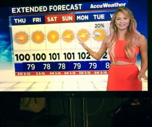 Watch Chrissy Teigen fail at playing weather reporter