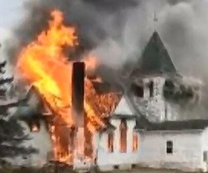 Fire destroys N.D. church owned by white supremacist
