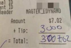 Customer orders one beer, leaves $3,000 tip