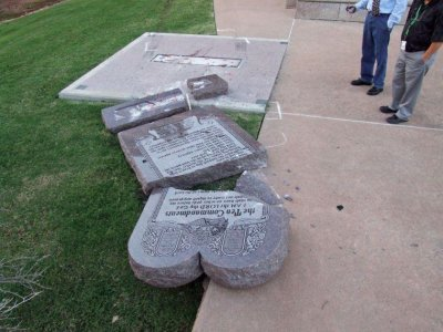 Oklahoma statehouse Ten Commandments statue smashed