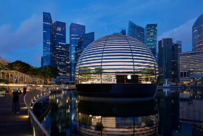 Apple opens new all-glass floating store in Singapore