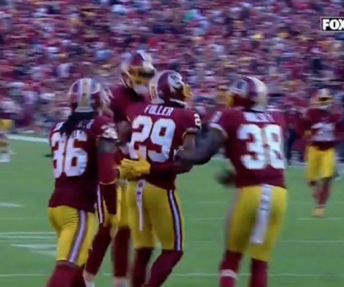 Washington Redskins defense does pat-down, handcuff celebration after interception