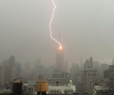 Empire State Building lightning strike caught on video