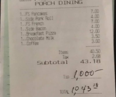 New Jersey restaurant workers receive $1,000 tip