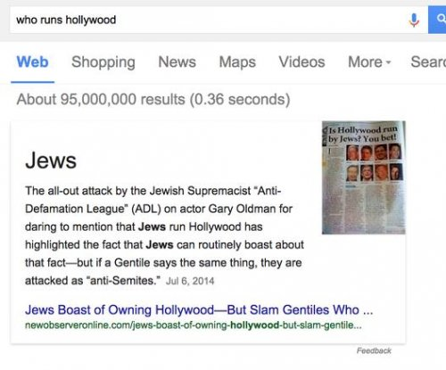 Google 'direct answers' service said 'Jews' run Hollywood