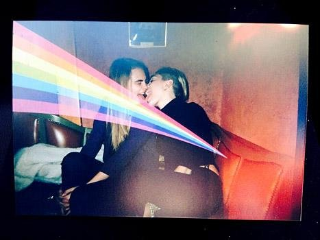 Miley Cyrus licks Cara Delevingne's tongue in racy photo