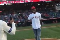 Los Angeles Chargers' Derwin James bounces first pitch at Angels game
