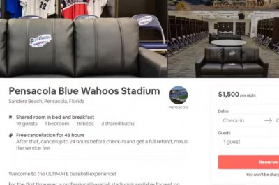 Florida baseball team lists stadium on Airbnb