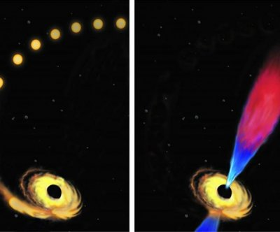 Astrophysicists observe black hole eating star, ejecting flare