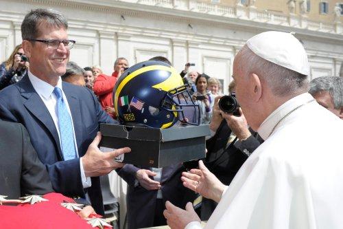 Jim Harbaugh meets Pope Francis, gives him unusual Michigan gifts