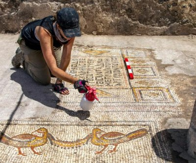 Archaeologists uncover mosaic from 5th century church near Sea of Galilee