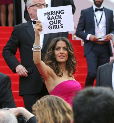 Salma Hayek supports kidnapped Nigerian girls on red carpet