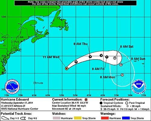 Edouard now a Category 3 hurricane