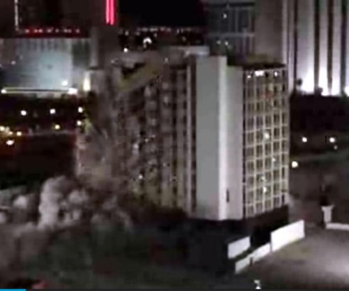 Las Vegas hotel implodes, elevator shaft remains