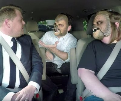 Chewbacca Mom takes James Corden to work, meets J.J. Abrams on 'Late Late Show'