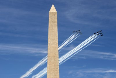 Blue Angels, Thunderbirds fly over Baltimore, D.C., Atlanta