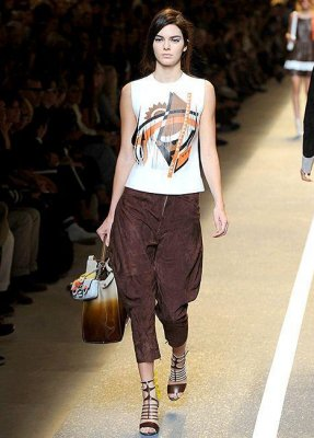 Kendall Jenner models for Fendi at Milan Fashion Week