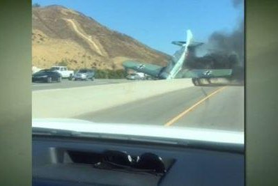 WWII fighter plane in Nazi livery crashes on LA-area freeway