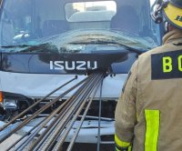 Rebar impales truck in Florida, driver uninjured