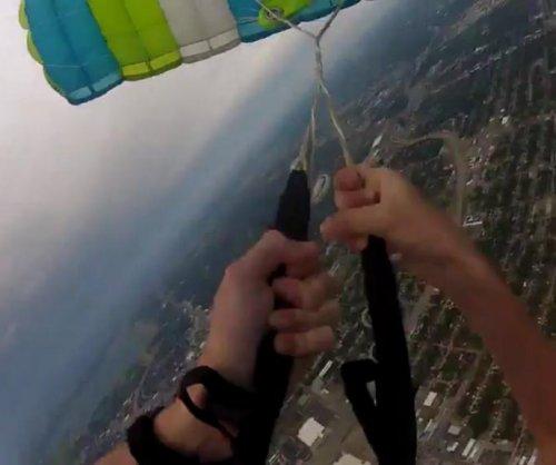 Skydiver's parachute malfunction caught on helmet camera