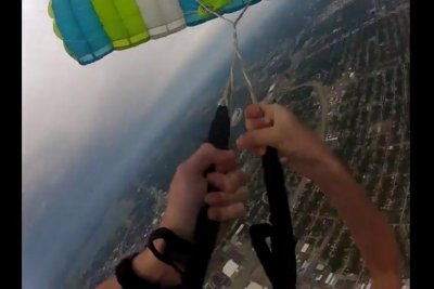 Skydiver's parachute malfunction caught on helmet camera