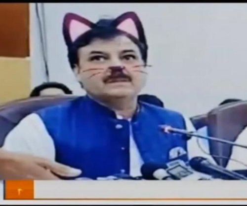 Pakistani politician's press conference live streamed with accidental cat filter