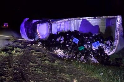 Truck overturns on Kentucky highway, spills load of milk