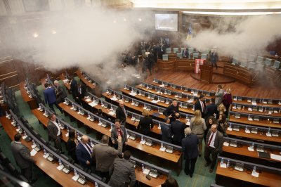 Tear gas released during Kosovo Parliament vote