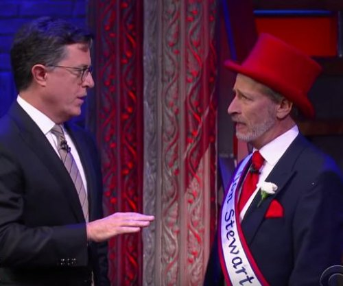 Stephen Colbert, Jon Stewart reunite to perform election day musical on 'The Late Show'