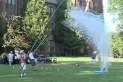 Bubble-blowing experts attempt Guinness record with giant bubble net
