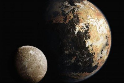 Name the features on Pluto and its moon Charon
