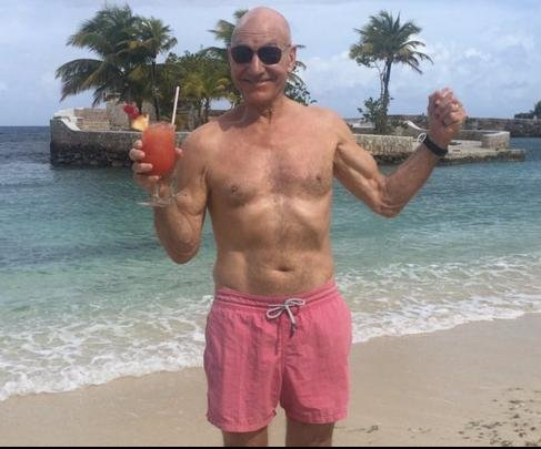 Patrick Stewart celebrates Golden Globe nomination beachside