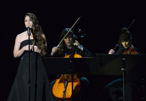 Sara Bareilles performs 'Smile' during Robin Williams Emmy Tribute
