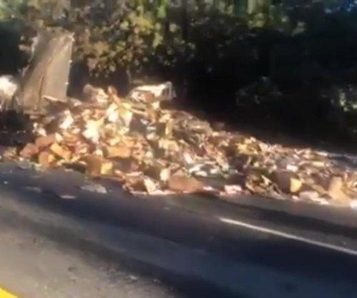 Truck spills 30,000 pounds of frozen food onto California highway