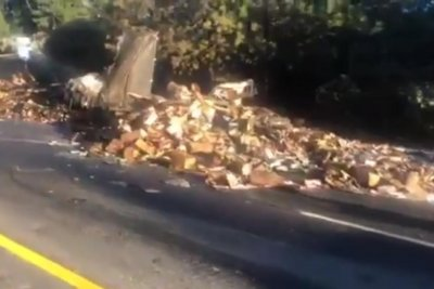 Truck spills 30,000 pounds of frozen food onto California highway