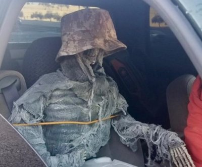 Driver caught using carpool lanes with skeleton passenger