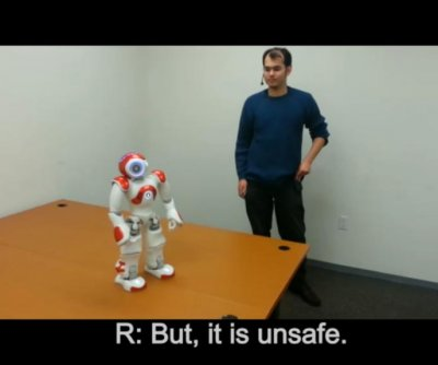 'I'm sorry, I can't do that' -- Robots learning to say 'no'