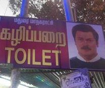 Indian restroom sign confirms Nick Offerman is the face of masculinity