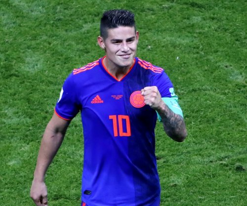 World Cup: Colombia's Rodriguez lasers long bending assist vs. Poland