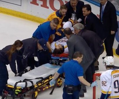 Nashville Predators winger Kevin Fiala stretchered off in St. Louis following gruesome injury
