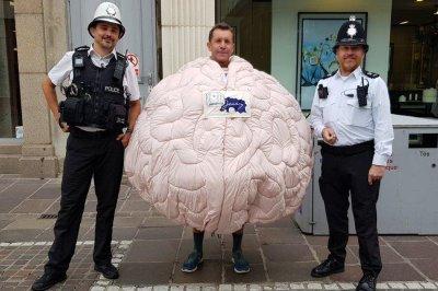 Runner in brain costume attempting marathon world record