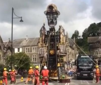 Giant mechanical miner puppet touring England